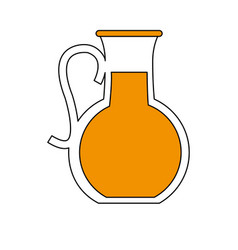 fruit juice jug and glass icon image vector image