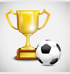 Gold Cup With Soccer Ball vector image vector image