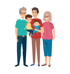 Grandparents couple with son and kids vector