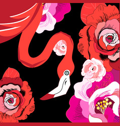 Graphic red flamingo among roses vector