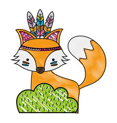 Grated ethnic fox animal in back of bushes plant vector