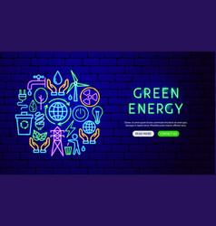 green energy neon banner design vector image