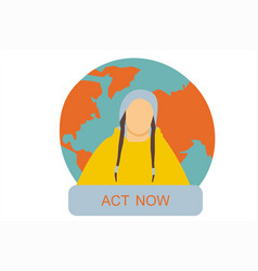 Greta thunberg with our planet on background vector