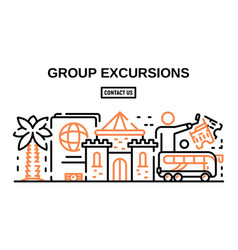 Group excursions banner outline style vector