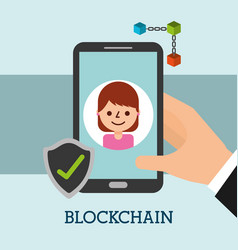 hand with smartphone woman check mark blockchain vector image