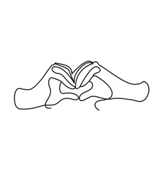 hands shows shape heart one line vector image