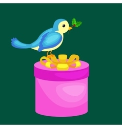 Happy cute bird with christmas gifts bird with vector
