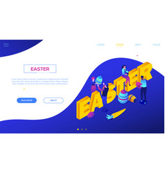 happy easter - colorful isometric web vector image