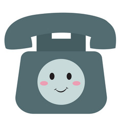 happy old telephone on white background vector image