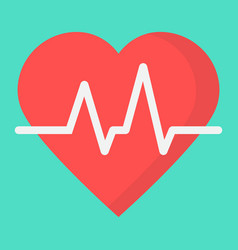 heartbeat flat icon medicine and healthcare vector image