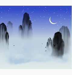 High misty mountains blue sky and clouds vector