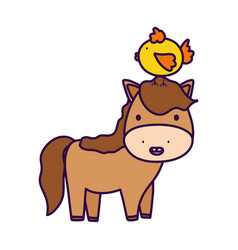 Horse with chick in head farm animal cartoon vector