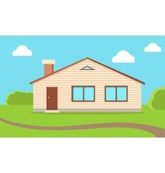 House in Nature Sky with Clouds vector