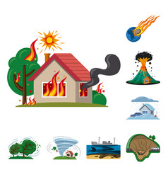isolated object of natural and disaster icon set vector image