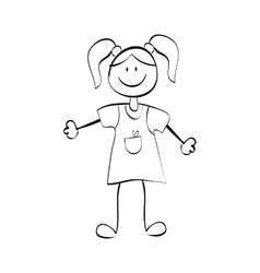 Kid girl draw vector