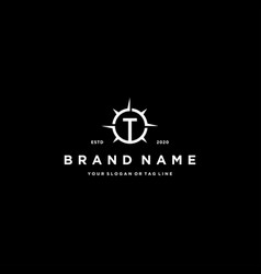 Letter t compass logo design vector