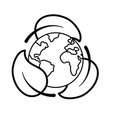 line earth planet with ecological leaves design vector image