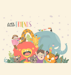 little boy with cartoon animal happy friends vector image