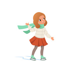 Lovely girl in warm clothes ice skating vector