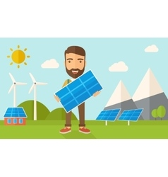 Man holding a solar panel vector