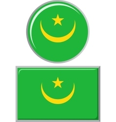 Mauritanian round and square icon flag vector