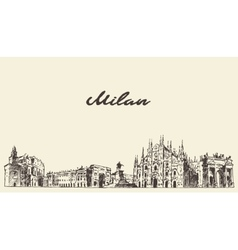 Milan skyline Italy hand drawn sketch vector image