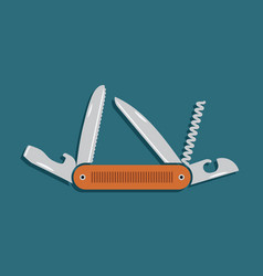 multifunctional pocket knife icon flat design vector image