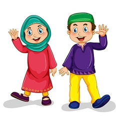Muslim boy and girl vector