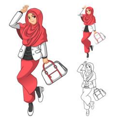 Muslim Woman Fashion Wearing Pink Veil or Scarf vector