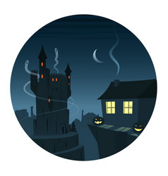 mysterious and spooky night scene round icon vector image