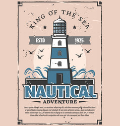 Nautical sea adventure lighthouse marine poster vector