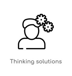 Outline thinking solutions icon isolated black vector