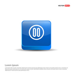 pause icon - 3d blue button vector image