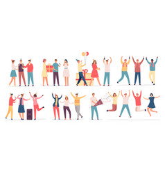 people celebrate birthday friend characters dance vector image