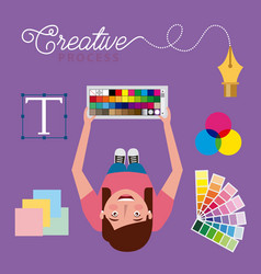 People working creative process vector