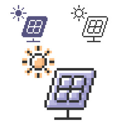 Pixel icon solar battery in three variants vector