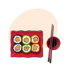 Plate of japanese sushi rolls chosticks and soy vector