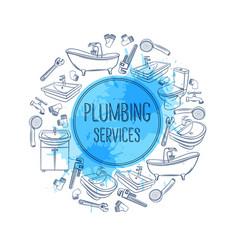 plumbing service banner vector image