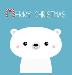 Polar white bear cub face merry christmas vector