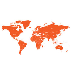 Politial map of world simple flat orange vector