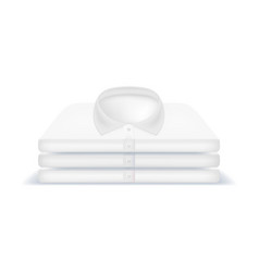 realistic detailed 3d white blank clothing piles vector image