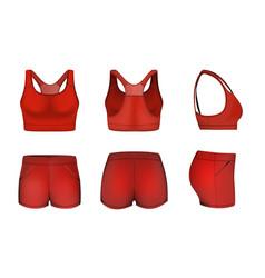 Red women sports bra crop top shorts mockup set vector