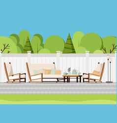 Relaxing porch zone private backyard patio retreat vector