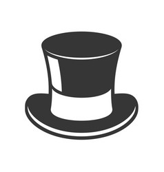 retro black top hat icon on white background vector image