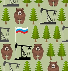 Russian seamless pattern Bears and forest Oil rig vector