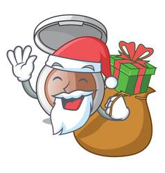 santa with gift makeup powder on wooden cartoon vector image