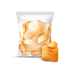 sealed bag for package design full of chips vector image