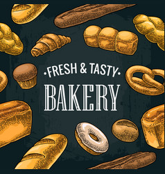 seamless pattern for bakery color hand vector image