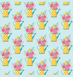 seamless pattern with watering can and flowers vector image