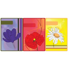 Set of cards with flowers vector